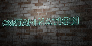 CONTAMINATION - Glowing Neon Sign on stonework wall - 3D rendered royalty free stock illustration. Can be used for online banner ads and direct mailers Royalty Free Stock Photo