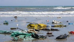 Contamination in marine currents drag garbage to beaches. Close up. Contamination in marine currents drag garbage to the beaches. Close up of horrible ecological stock video