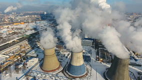 Contamination, pollution, global warming concept. Smoke and steam from industrial power plant. stock footage