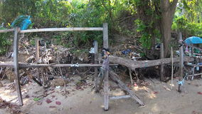 Contamination of tropical beach. Piles of garbage waste environmental disaster. Action camera stock video footage