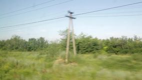 Contaminazione dalla finestra di un treno commovente Giorno soleggiato di estate, foresta, linee elettriche stock footage