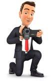 contaminazione dell'uomo d'affari 3d con la videocamera royalty illustrazione gratis