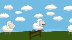 Contando carneiros esse salto acima de uma cerca de madeira ilustração royalty free