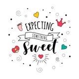 Contando con algo letras dulces de la cita del bebé del embarazo ilustración del vector