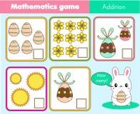 Contando el juego educativo de los niños, la matemáticas embroma actividad Cuántos objetos encargan Tema de Pascua Hoja de trabaj stock de ilustración