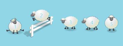 Contando a fila dos carneiros ilustração stock