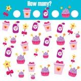 Contando il gioco educativo dei bambini, il per la matematica scherza l'attività Quanti oggetti incaricano illustrazione di stock