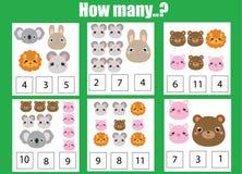 Contando il gioco educativo dei bambini, il per la matematica scherza l'attività Quanti oggetti incaricano Tema degli animali illustrazione di stock