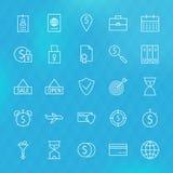 Contando la linea icone dei soldi di affari di finanza messe Fotografia Stock Libera da Diritti