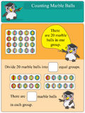 Contando las bolas de mármol 3 grupos stock de ilustración