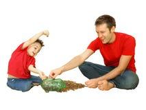 Contando moedas de um centavo Imagem de Stock