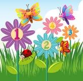 Contando números com insetos coloridos ilustração royalty free