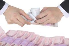 Contando notas do baht Foto de Stock Royalty Free