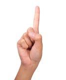 Contando o dedo dos righthands da mulher número (1) Imagens de Stock Royalty Free