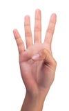 Contando o dedo número 4 dos righthands da mulher Foto de Stock
