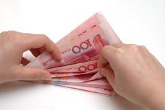 Contando o dinheiro da pilha RMB Foto de Stock Royalty Free