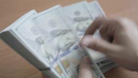 Contando o dinheiro, muitos dólares video estoque