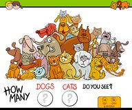 Contando o jogo da atividade dos gatos e dos cães ilustração royalty free