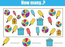 Contando o jogo educacional das crianças, atividade das crianças Quantos objetos se encarregam ilustração stock