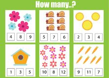 Contando o jogo educacional das crianças, a matemática caçoa a atividade Quantos objetos se encarregam ilustração royalty free