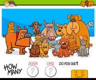 Contando o jogo educacional dos gatos e dos cães para crianças Fotografia de Stock