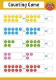 Contando o jogo para crianças em idade pré-escolar Jogo matemático educacional na adição e na subtração Folha ativa para crianças Ilustração Stock