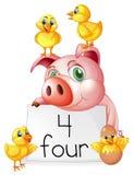 Contando o número quatro com porco e pintainhos ilustração stock