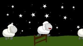Contando ovejas ese salto sobre una cerca de madera en la noche ilustración del vector