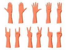 Contando a partir la uno a cinco por los fingeres o gesticulando para las emociones de la demostración stock de ilustración