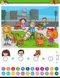 Contando y añadiendo la tarea para los niños ilustración del vector