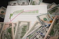 Contant geld als achtergrond, Grafiek van de groei stock afbeelding