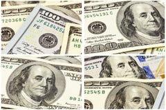 Contant geld 100 dollar Amerikaanse rekeningencollage als achtergrond Stock Afbeelding