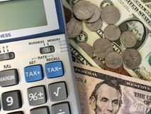 Contant geld en Calculator III Royalty-vrije Stock Foto