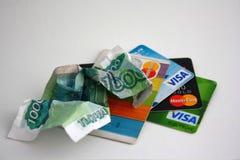 Contant geld en kaarten Royalty-vrije Stock Fotografie