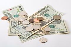 Contant geld en muntstukken Royalty-vrije Stock Foto's