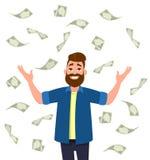 Contant geld/geld/muntrekeningen die rond de jonge mens vallen vector illustratie