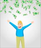 Contant geld/geld/muntrekeningen die rond de jonge mens vallen royalty-vrije illustratie