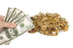 Contant geld voor Goud Royalty-vrije Stock Afbeelding