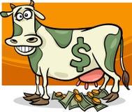 Contant geldkoe die beeldverhaalillustratie zeggen Royalty-vrije Stock Afbeeldingen