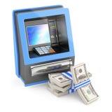 Contant geldmachine en stapel dollars Stock Afbeelding