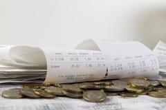Contant geldontvangstbewijzen met de verschillende BTW royalty-vrije stock foto