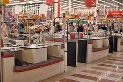 Contant geldstreek in de supermarkt Royalty-vrije Stock Foto