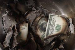 Contanti bruciati fotografia stock libera da diritti