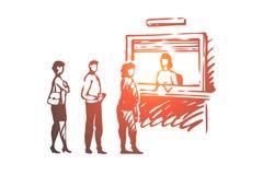 Contanti, coda, la gente, servizio, linea concetto Vettore isolato disegnato a mano royalty illustrazione gratis