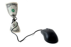 Contanti con il mouse, concetto della moneta elettronica Immagini Stock