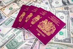 Contanti del passaporto Fotografia Stock Libera da Diritti