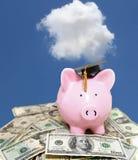 Contanti del porcellino salvadanaio con il cappuccio ed il cielo blu di graduazione immagini stock libere da diritti