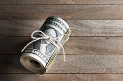 Contanti del rotolo dei soldi Fotografia Stock