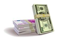Contanti dell'euro del dollaro Fotografie Stock Libere da Diritti