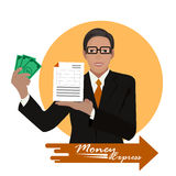 Contanti di offerta del banchiere precisi su fondo arancio Immagine Stock
